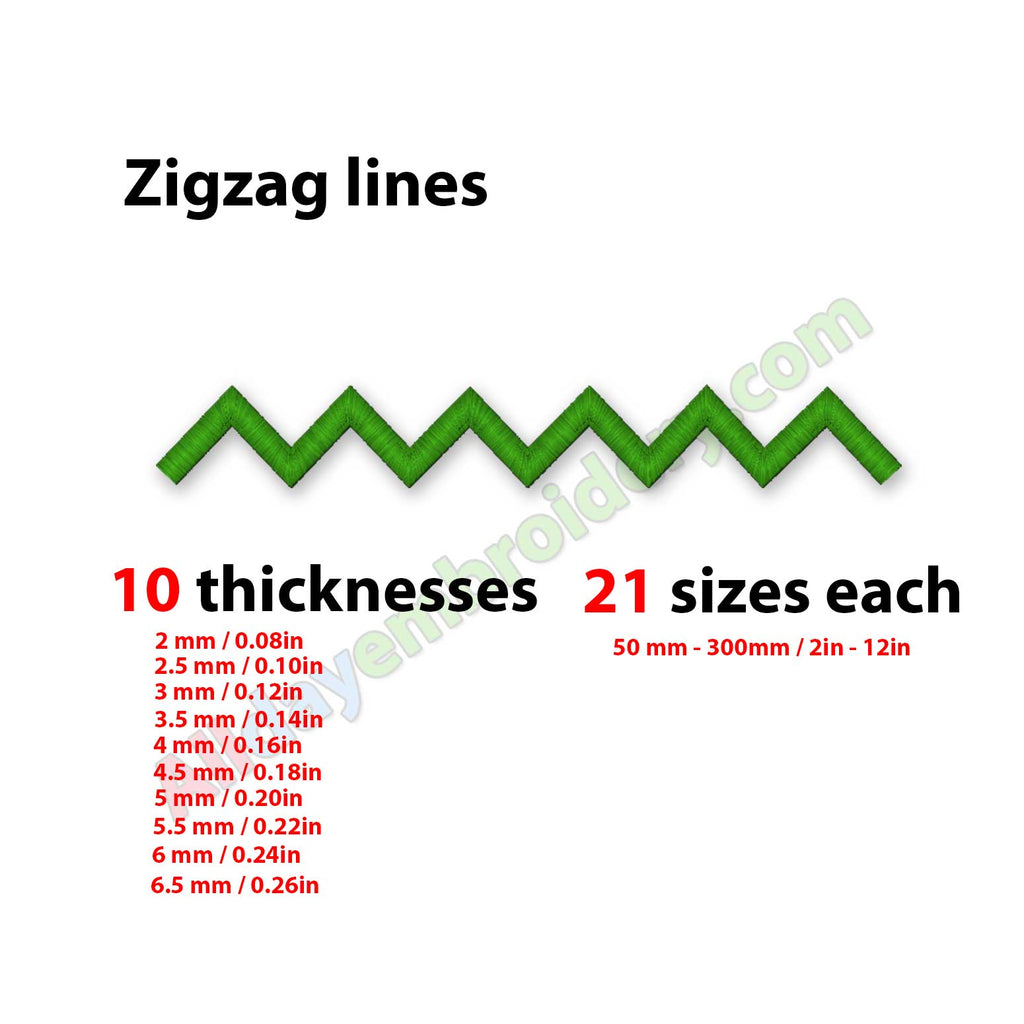 Zigzag line embroidery