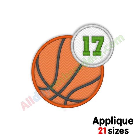basketball applique embroidery design