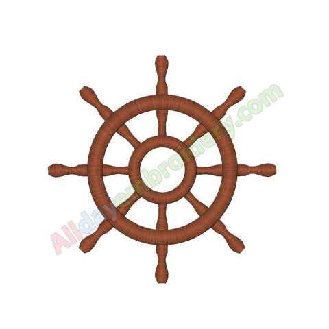 Ship wheel embroidery - Alldayembroidery.com