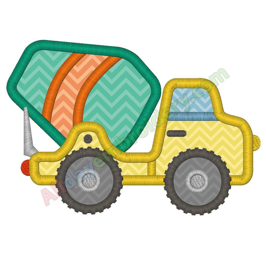 Cement Truck Applique Design Machine Embroidery Design