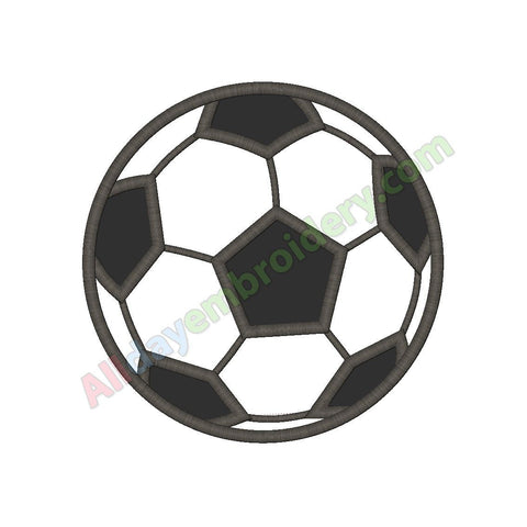 Soccer ball applique (Satin stitch version) - Alldayembroidery.com