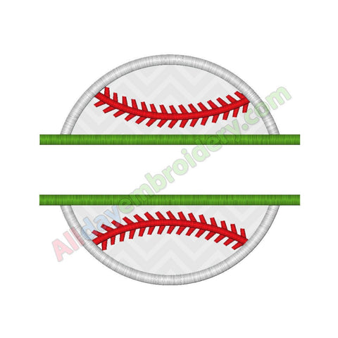 Split baseball applique - Alldayembroidery.com
