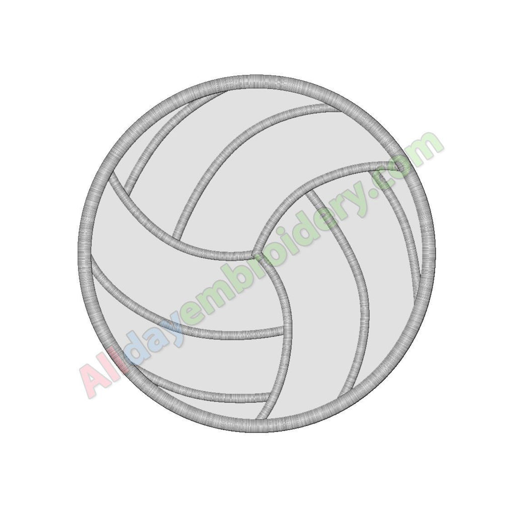 Volleyball ball applique - Alldayembroidery.com