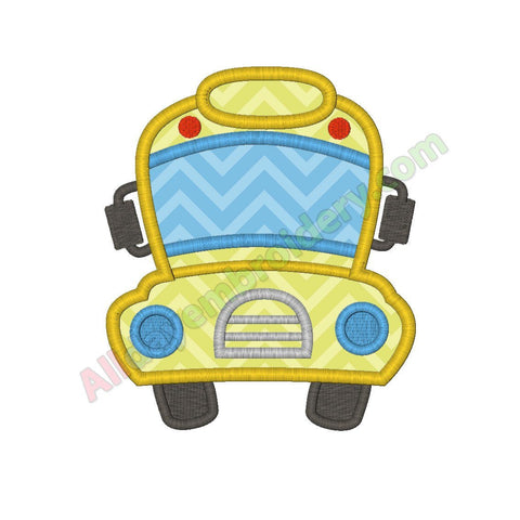 School bus applique - Alldayembroidery.com