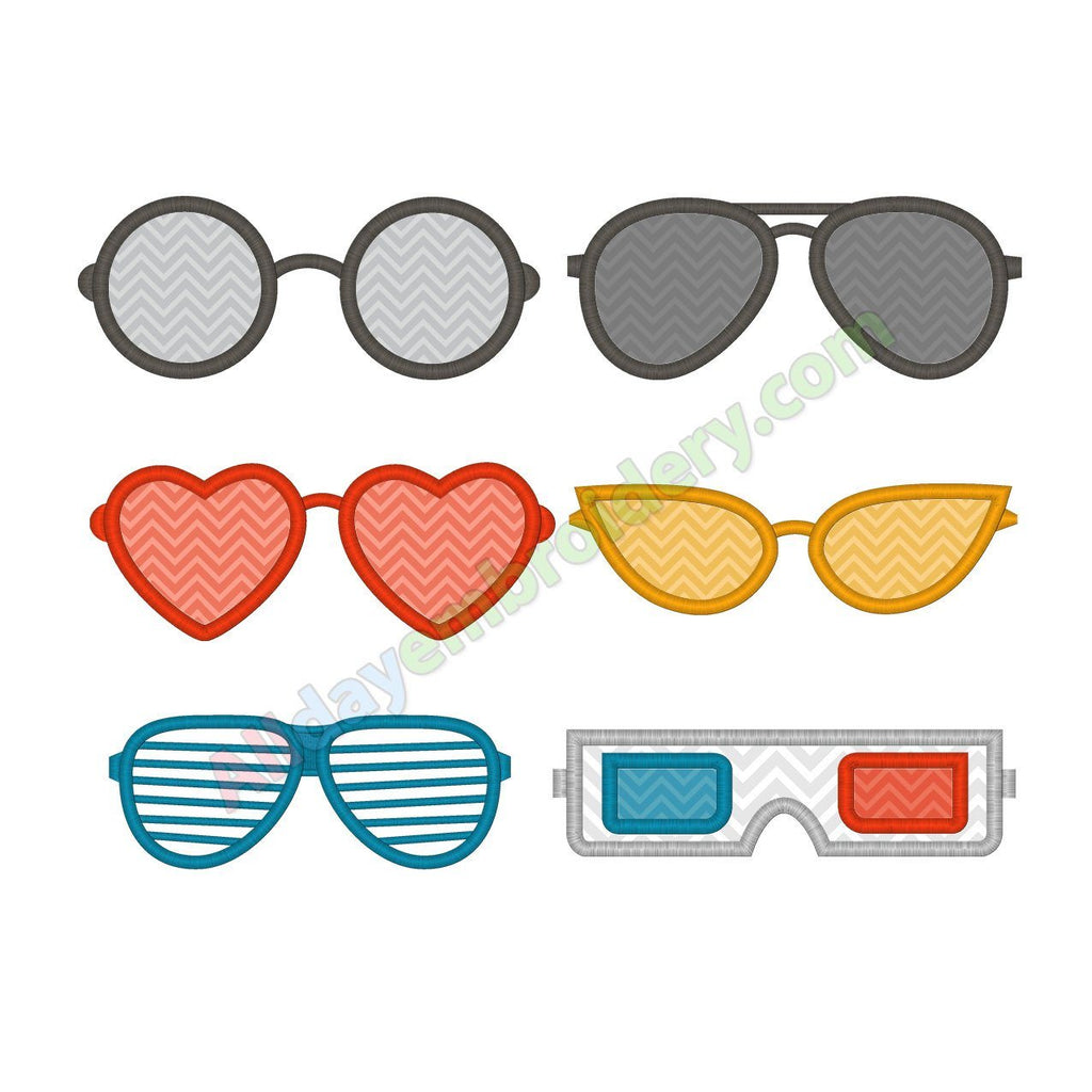 Glasses embroidery design set