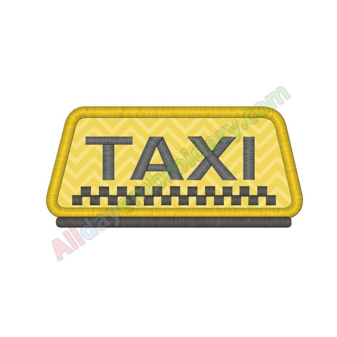 Taxi sign applique - Alldayembroidery.com