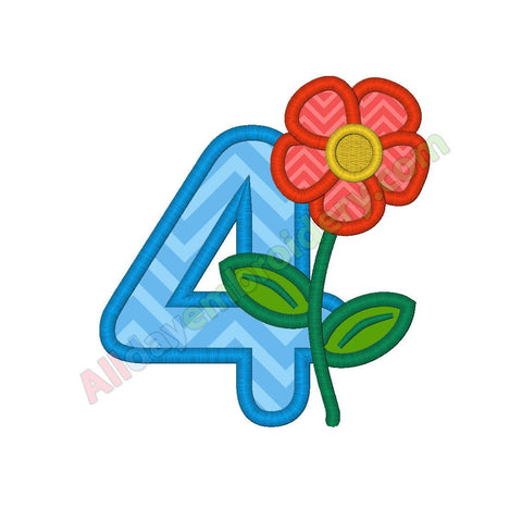 Number 4 applique