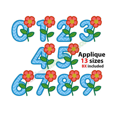 Flower numbers applique SET