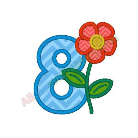 Number 8 applique