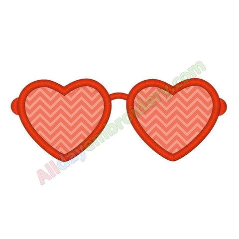 Heart glasses applique