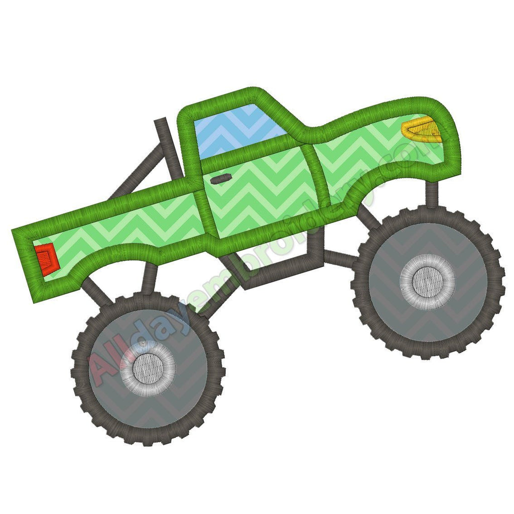 Monster Truck Machine Embroidery Design Applique Design