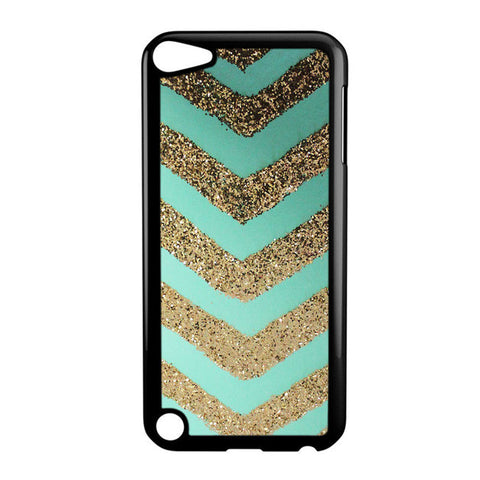 Chevron Mint Gold Glitter iPod 6