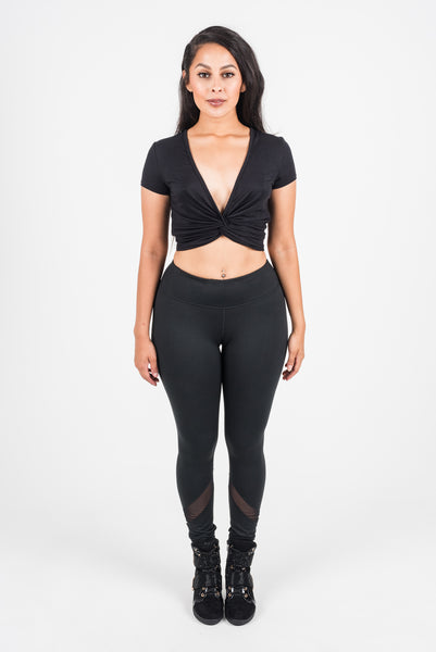Plain Scoop V-neck Crop Top (210AW)