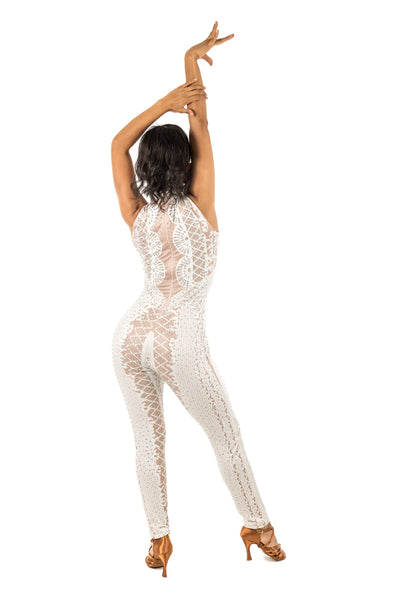 Sleeveless Rhinestone Embellished Bodysuit (590AW)