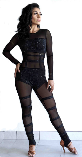 Long Sleeve Mesh Jumpsuit with Rhinestone Accents - (600AW)