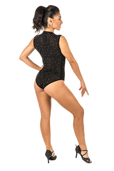 Leotard - Sleeveless rhinestone embellishment with open front (CW 180)