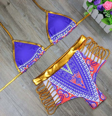 Tribal Print Gold Trimmed Set-BoldDress.com