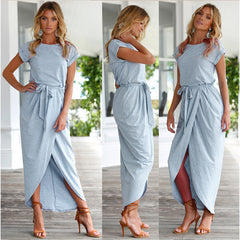 Asymmetrical Tie Waist Dress-BoldDress.com