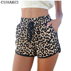 Draw String Leopard Print Shorts-BoldDress.com