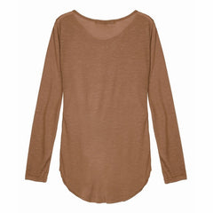 Long Sleeve O Neck Hollow Out Top-BoldDress.com