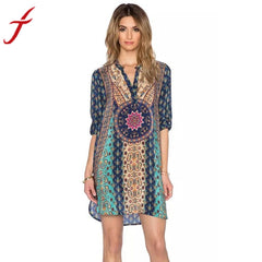 Best Seller! Blue Bohemian V Neck-BoldDress.com