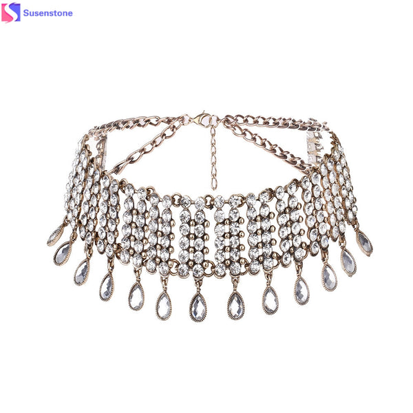 Rhinestone Water Droplet Choker Necklace