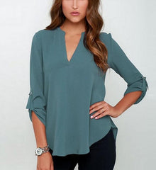 Sophisticated V-Neck Top-BoldDress.com