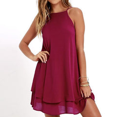 Casual Double Ruffle Dress-BoldDress.com