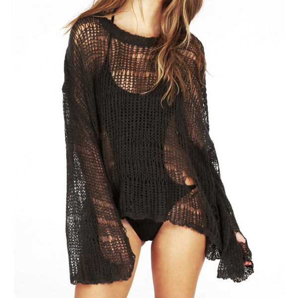 Chic Long Sleeve Crotchet Cover Up