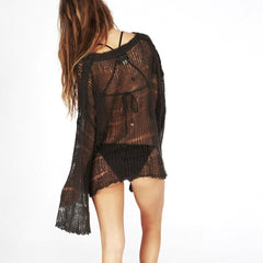 Chic Long Sleeve Crotchet Cover Up-BoldDress.com