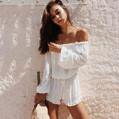 Easy Off Shoulder Jumpsuit Cover-BoldDress.com