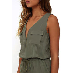 Zip Front Sleeveless Jumpsuit-BoldDress.com