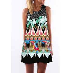 Expressive Sleeveless A-Line Dress-BoldDress.com