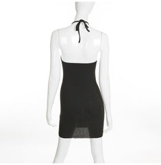 Ribbed Backless Bodycon Dress-BoldDress.com
