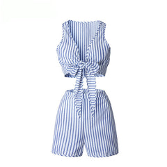 Striped Blue Playsuit-BoldDress.com