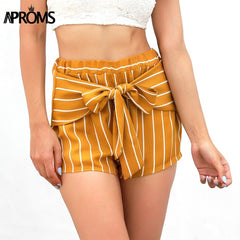 Golden Bow Tie Front Shorts-BoldDress.com