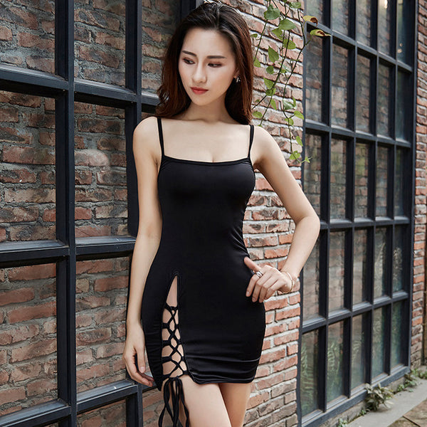 Laced Up Slit Bodycon Dress