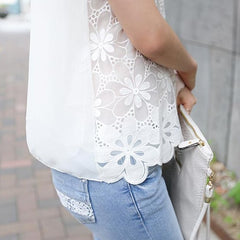 Chiffon Lace Floral Top-BoldDress.com