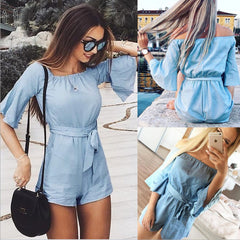Bella In Blue Tied Romper-BoldDress.com