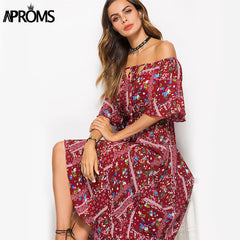 Boho Off the Shoulder Sun Dress-BoldDress.com