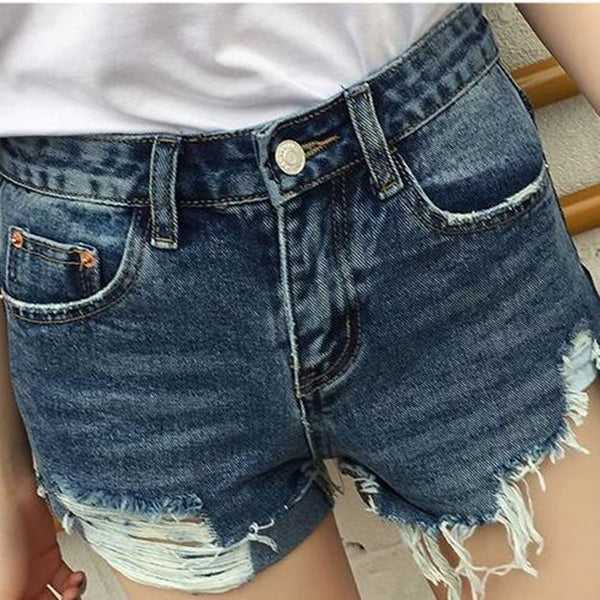 Destroyed Zip Fly Denim Shorts