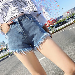 Fringed Lace Up Denim Shorts-BoldDress.com