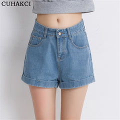 Flared Cuffed Denim Shorts-BoldDress.com