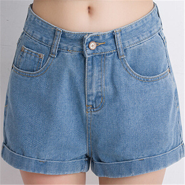 Flared Cuffed Denim Shorts