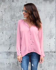 Casual V-Neck Button Up Top-BoldDress.com