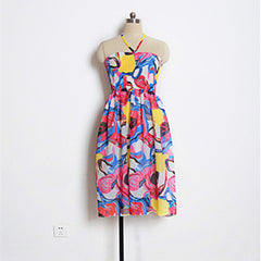 Colorful Print Backless Sundress-BoldDress.com
