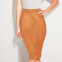 Avery Suede Pencil Skirt-BoldDress.com