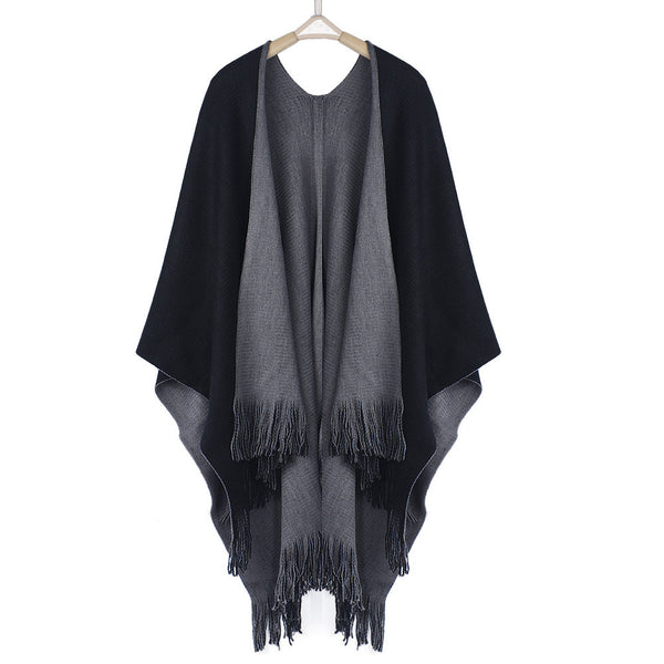 Felicity Oversized Knitted Fringed Poncho