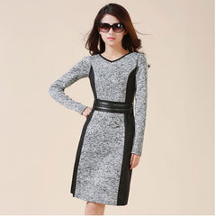 Elastic Winter Business/Office Dresse-BoldDress.com