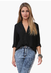 Chiffon Long Sleeve V-Neck Shirt-BoldDress.com